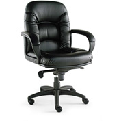 Alera® Nico Mid-Back Swivel Chair - Leather - Black