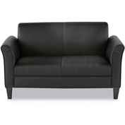 "Alera Reception Loveseat - Leather -  55-1/2""W x 31-1/2""D x 32""H - Black"