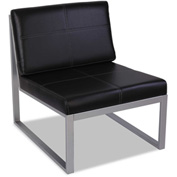 "Alera Reception Lounge Chair - Leather - 27""W x 31 1/8""D x 30""H - Black/Silver"