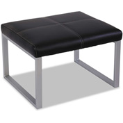 "Alera Reception Lounge Ottoman - Leather - 27""W x 22 5/8""D x 17 3/8""H - Black/Silver"