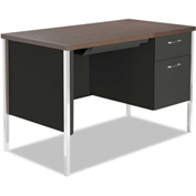 "Alera ALESD214824BW Single Pedestal Steel Desk, Metal Desk, 45 1/4""W x 24""D x 29-1/2""H, Walnut/Black"