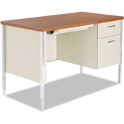"Alera Steel Desk - Single Right Pedestal - 45 1/4""W x 24""D x 29-1/2""H - Cherry/Putty"