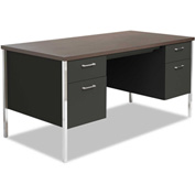 "Alera ALESD216030BW Double Pedestal Steel Desk, Metal Desk, 60""W x 30""D x 29-1/2""H, Walnut/Black"