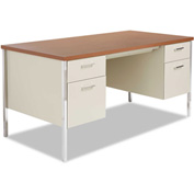 "Alera ALESD216030PO Double Pedestal Steel Desk, Metal Desk, 60""W x 30""D x 29-1/2""H, Cherry/Putty"