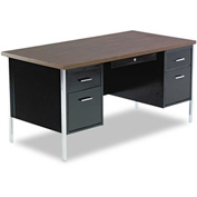 "Alera ALESD217236BW Double Pedestal Steel Desk, Metal Desk, 72""W x 36""D x 29-1/2""H, Walnut/Black"