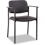 Alera® Stacking Guest Chair - Synthetic Leather - Black