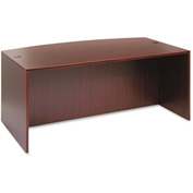 "Alera Desk Shell with Bow Front - 71""W x 41-3/8""D x 29-1/2""H - Mahogany - Valencia Series"