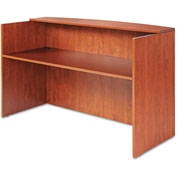 "Alera Reception Desk w/Counter - 71""W x 35-1/2""D x 42-1/2""H - Med Cherry - Valencia Series"