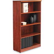 "Alera ALEVA635632MC Valencia Series Bookcase, 4 Shelves, 31-3/4""W x 14""D x 55""H, Medium Cherry"