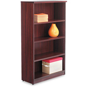 "Alera Bookcase with 4 Shelves - 31-3/4""W x 14""D x 55""H - Mahogany - Valencia Series"