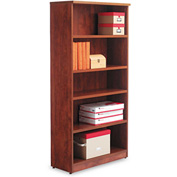 "Alera Bookcase with 5 Shelves - 31-3/4""W x 14""D x 65""H - Medium Cherry - Valencia Series"