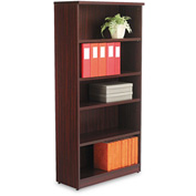 "Alera Bookcase with 5 Shelves - 31-3/4""W x 14""D x 65""H - Mahogany - Valencia Series"