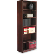 "Alera Bookcase with 6 Shelves - 31-3/4""W x 14""D x 80-3/8""H - Mahogany - Valencia Series"