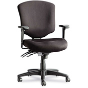 Alera® Multifunction Office Chair with Seat Glide - Fabric - MidBack - Black - Wrigley Series