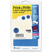 """Avery® Print or Write Removable Color-Coding Labels, 3/4"""" Dia, Dark Blue, 1008/Pack"""