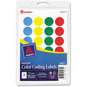 "Avery® Print or Write Removable Color-Coding Labels, 3/4"" Dia, Assorted, 1008/Pack"