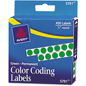 "Avery® Permanent Self-Adhesive Color-Coding Labels, 1/4"" Dia, Green, 450/Pack"