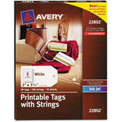 Avery® Blank Printer-Compatible Tags With Strings, 2 x 3 1/2, White, 96/Pack