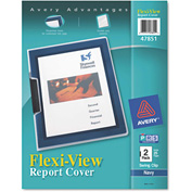 Avery® Flexi-View Cover, Swing Clip, Letter, Holds 25 Pages, Clear/Navy, 2/Pack