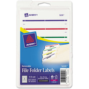 Avery® Removable File Folder Labels, Inkjet/Laser, 2/3 x 3 7/16, Assorted, 252/Pack