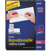 Avery® Repositionable Address Labels for Laser Printers, 1 x 2 5/8, White, 3000/Box