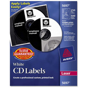 Avery 5697 Laser CD/DVD Labels, Matte White, 250/Pack