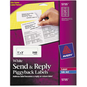 Avery Send & Reply Piggyback Inkjet Laser Printer Labels, 1-5 8 x 4, White, 240 Pack