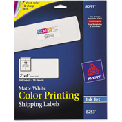 Avery® Inkjet Labels for Color Printing, 2 x 4, Matte White, 200/Pack