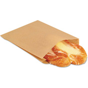 "Grease-Resistant Bags 6-1/2"" x 1"" x 8"" Brown - 2000 Pack"