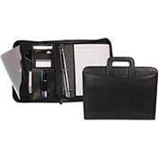 Bond Street, Ltd. Zippered Tablet-iPad Organizer with Removable Binder, Black Leather