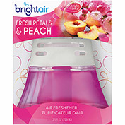 Bright Air Scented Oil Air Freshener Diffuser 2.5 oz. Glass Jar, Fresh Petals & Peach BRI 900134