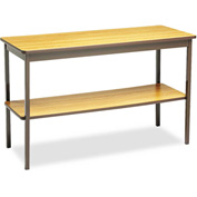 Barricks BRKUTS1848LQ Utility Table W/Bottom Shelf,Rectangular,48w x 18d x 30h,Oak