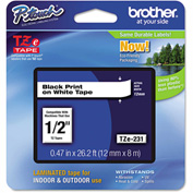 "Brother® P-Touch® Tze Labeling Tape, 1/2""W, Black on White"