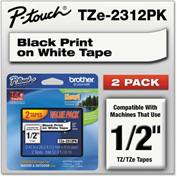 "Brother® P-Touch® Tze Labeling Tape, 1/2'""W, Black on White, 2/Pack"