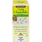Bigelow Caffeine-Free Herbal Tea, Cozy Chamomile, 8 Oz Single Cup Bags, 28/Box