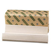 Green Folded Paper Towels, C-Fold, Natural White, 10-1/8W x 13L, 2400/Carton - BWK11GREEN
