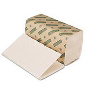 "Boardwalk Green Single-Fold White Paper Towels, 9"" x 10"", 268 Sheets/Pk, 15Pk/Case - BWK12GREEN"