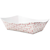 Boardwalk BWK30LAG300 Paper Food Basket, 3 Lbs. Cap., Red/White, 8