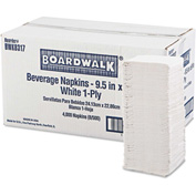 Boardwalk® Beverage Napkins, 1-Ply, 9 1/2 x 9, White