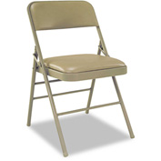 Triple Braced Vinyl Upholstered Folding Chair - Taupe (Carton of 4)