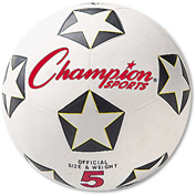 Champion Sports SRB5 Rubber Sports Ball, For Soccer, No. 5, White/Black
