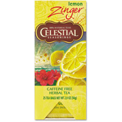 Celestial Seasonings Caffeine-Free Herbal Tea, Lemon Zinger, Single Cup Bags, 25/Box