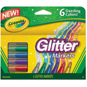 Crayola® Glitter Markers, Assorted, 6/Set