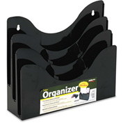 "deflect-o 47634 Three-Tier Document Organizer w/Dividers, 13-3/8""W x 3-1/2""D x 11-1/2""H, Black"