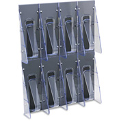"deflect-o 56201 Multi-Pocket Wall-Mount Literature Systems, 18-1/4""W x 2-7/8""D x 23-1/2""H, Clear/BL"