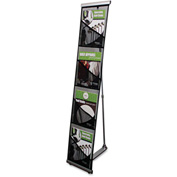 "deflect-o 780172 Mesh Floor Stand, 4 Compartments, 10""W x 14-1/2""D x 54""H, Black"