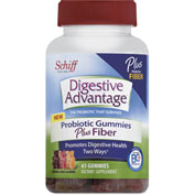 Digestive Advantage® Probiotic Gummies Plus Fiber, Natural Fruit Flavors, 65 Count