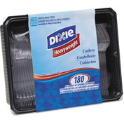 Dixie® Tray w/Heavyweight Crystal Plastic Tableware, 1800/Carton