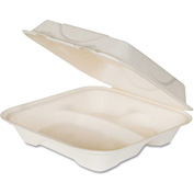"Hinged Lid Compostable Sugarcane Fiber Containers 9"" x 9"" x 3"" White 3 Compartments - 200 Pack"