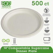 "Eco-Products® Compostable Sugarcane Dinnerware, 10"" Plate, Natural White, 500/Carton"
